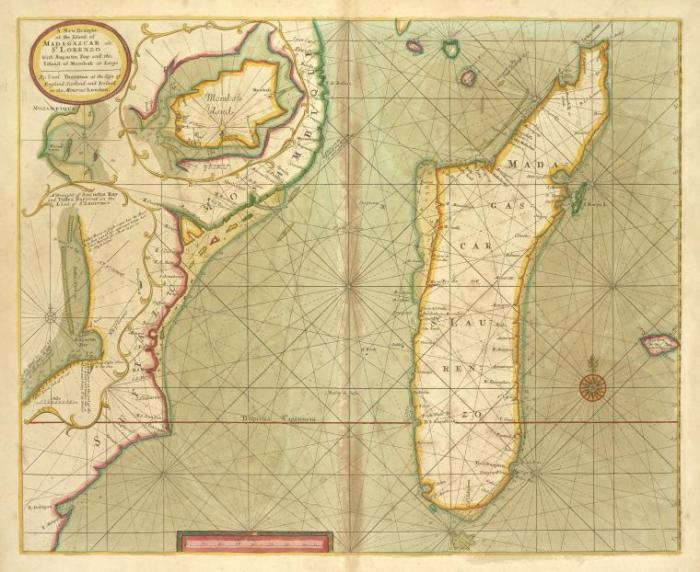 Карта Мадагаскара. Самуэль Торнтон, 1702-1707 гг.   Фото: digitalcollections.nypl.org.